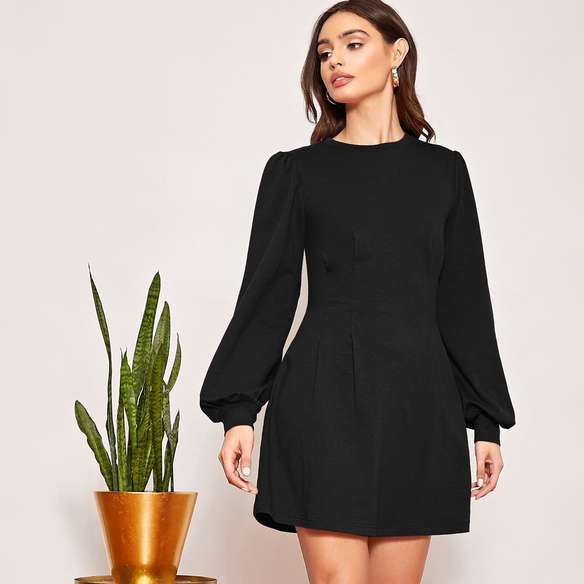 Lantern Sleeve Fold Pleated Sweatshirt Dress