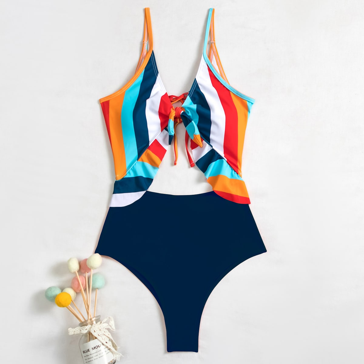 Striped Cut-out Ruffle One Piece Swimsuit