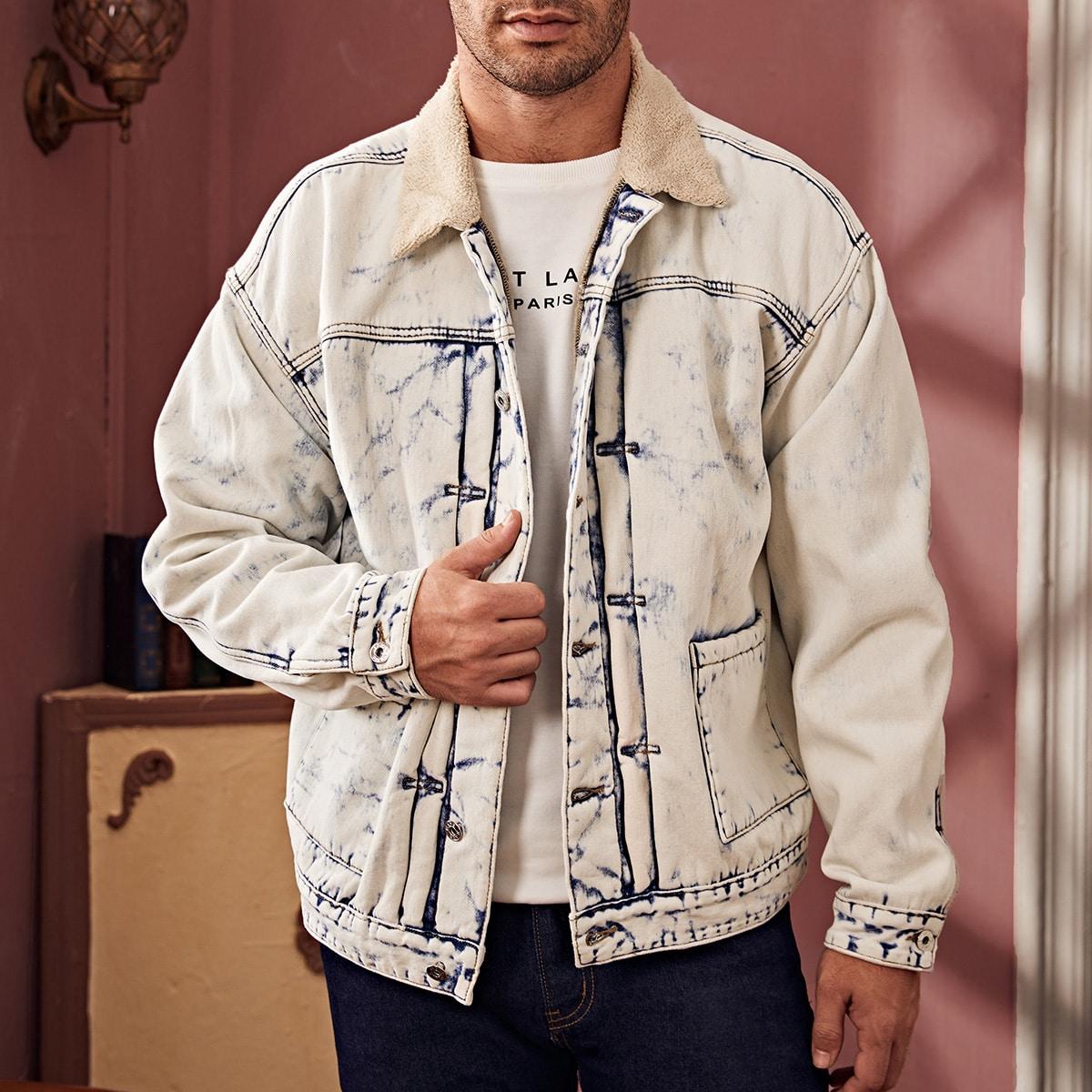 """Мужская джинсовая куртка на пуговицах с воротником """"борг"""