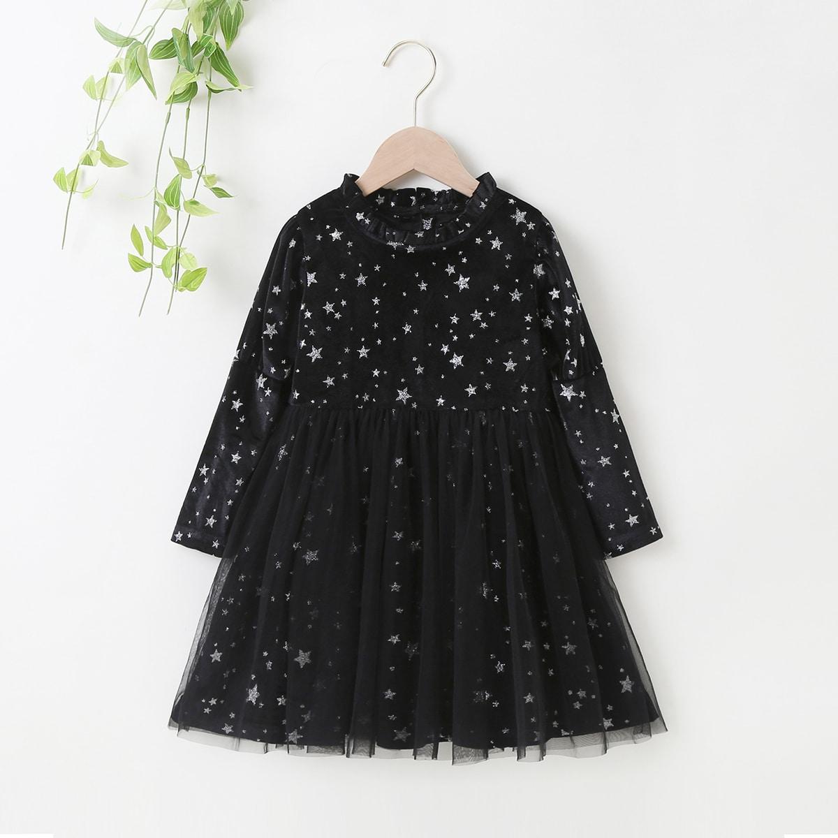 Контрастная сетка принт космос очаровательный платья для девочек