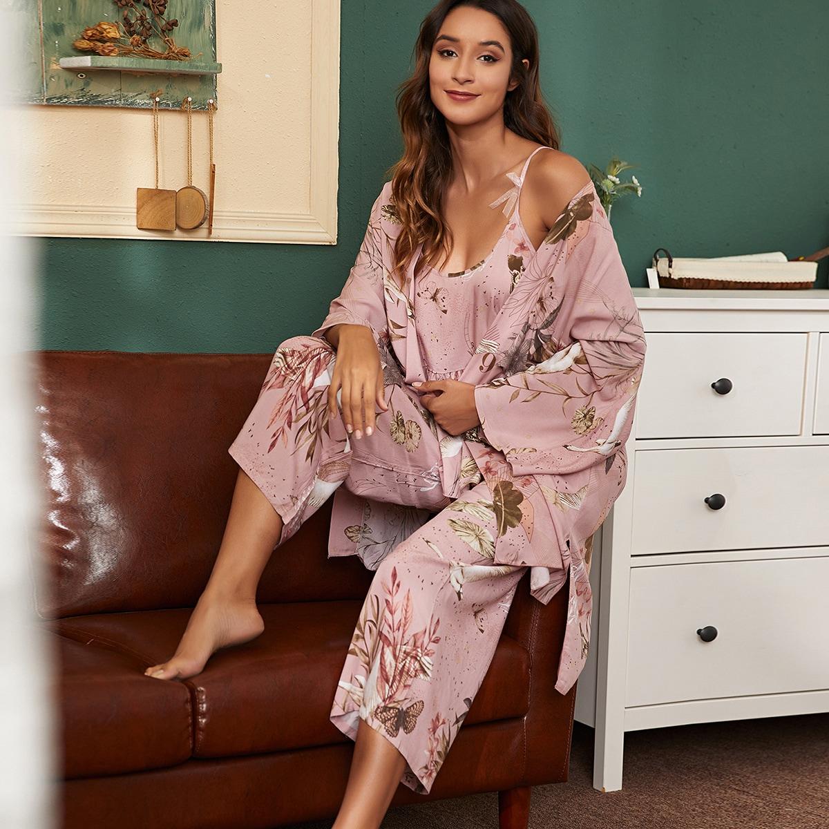 3шт халат и пижама с принтом растений & животных