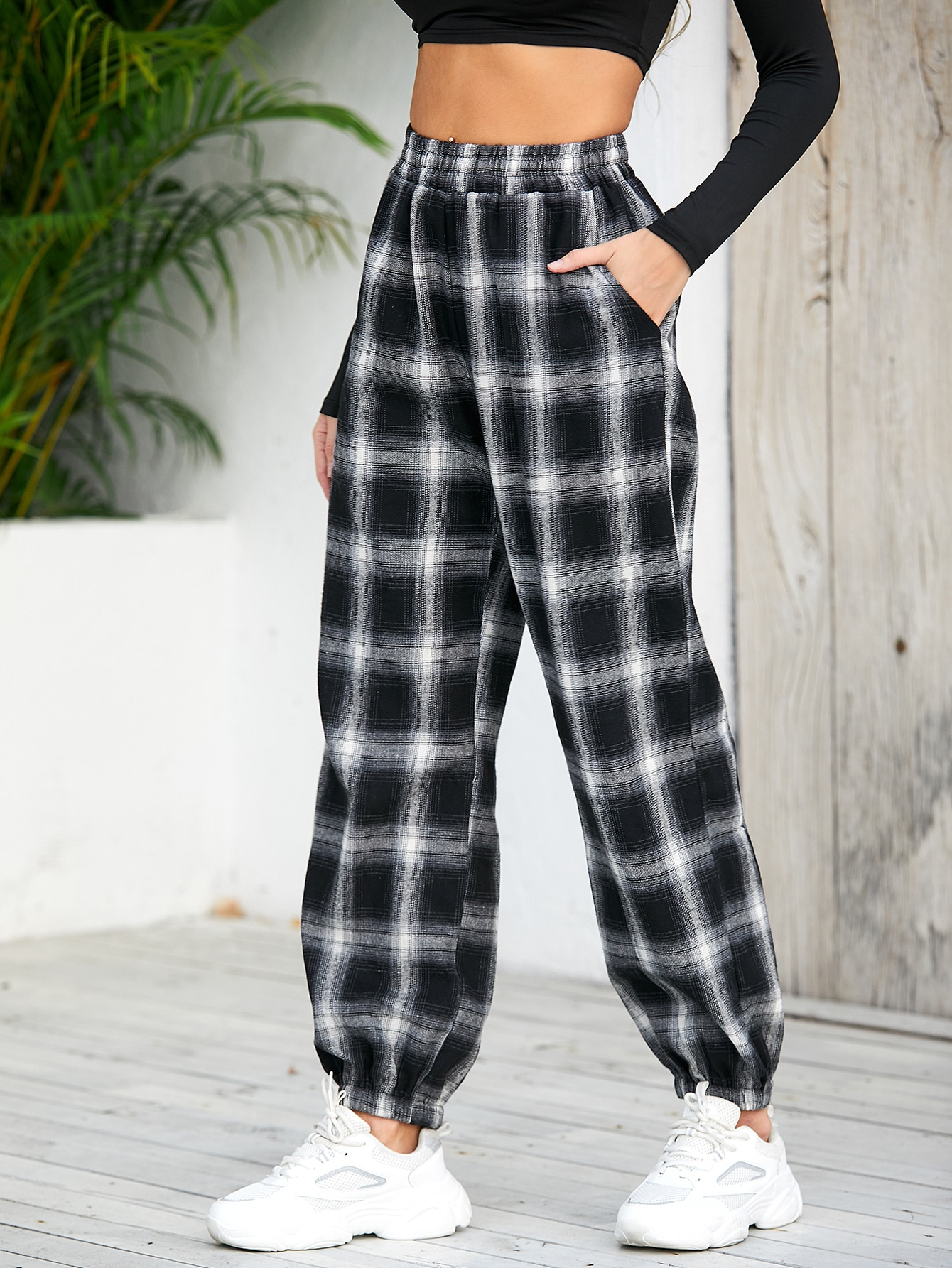 Plaid Slant Pocket Carrot Pants thumbnail