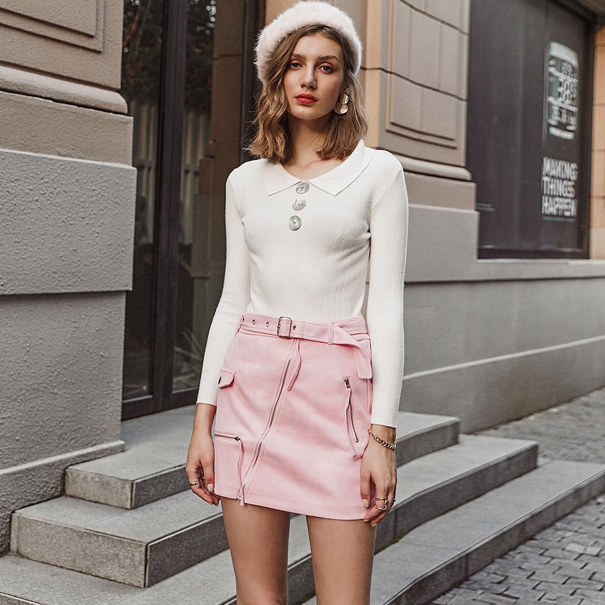 Замшевая юбка с поясом и молнией