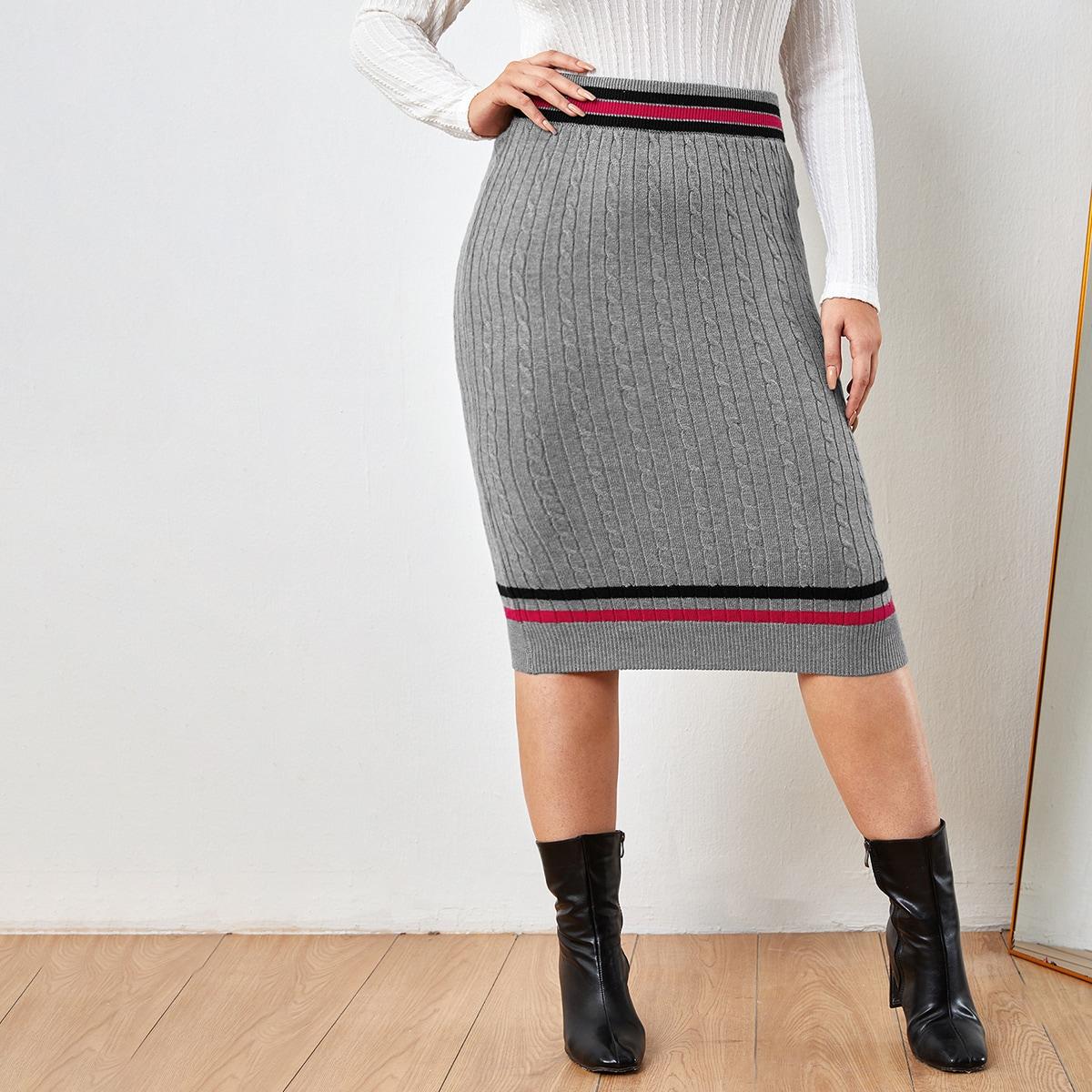 Полосатые изображения повседневный трикотажные юбки размер плюс