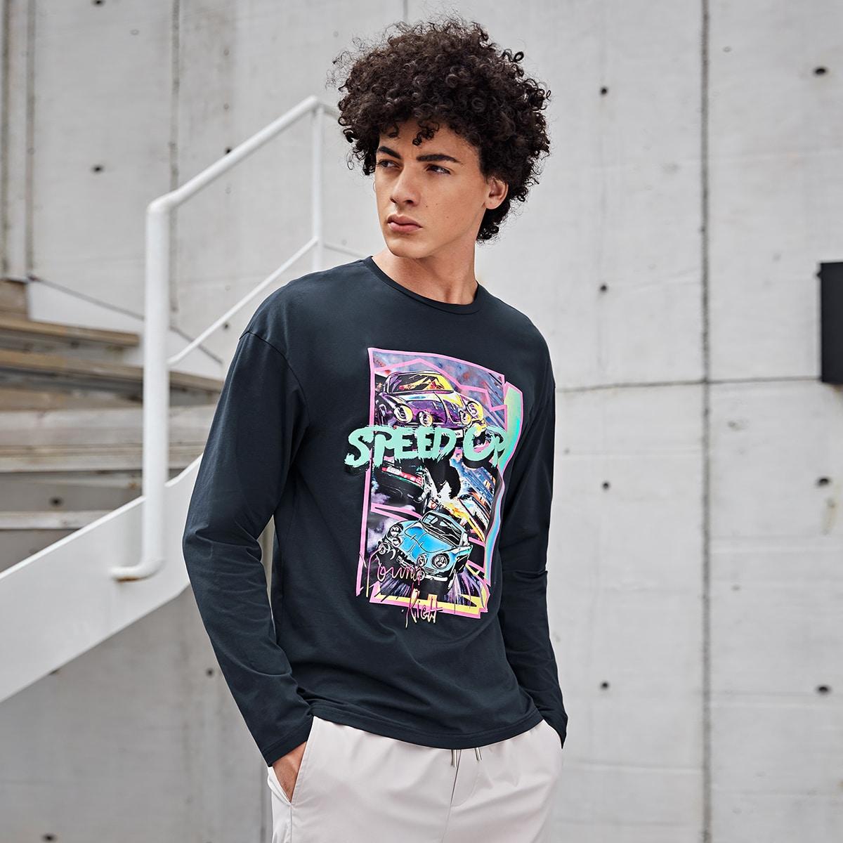 Мужская футболка с открытыми плечами и буквенным принтом