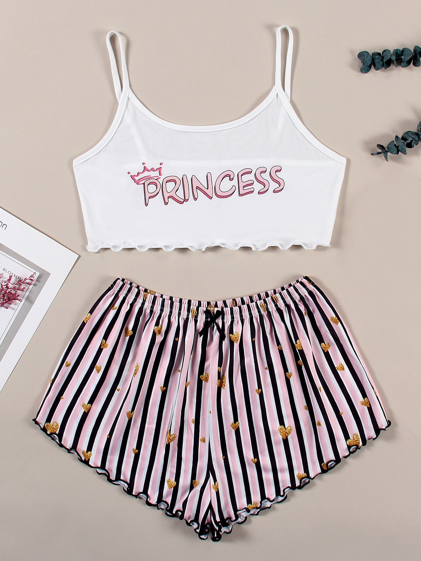 Heart And Letter Graphic Lettuce Trim Cami Pajama Set thumbnail