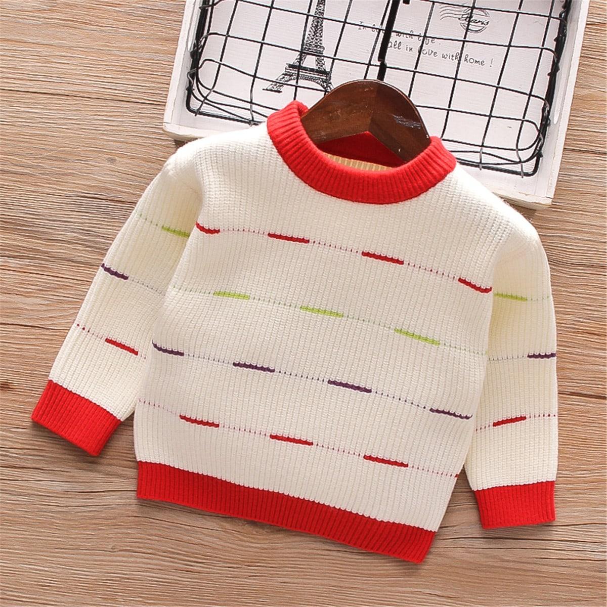 Контрастная отделка полосатый повседневный свитеры для девочек