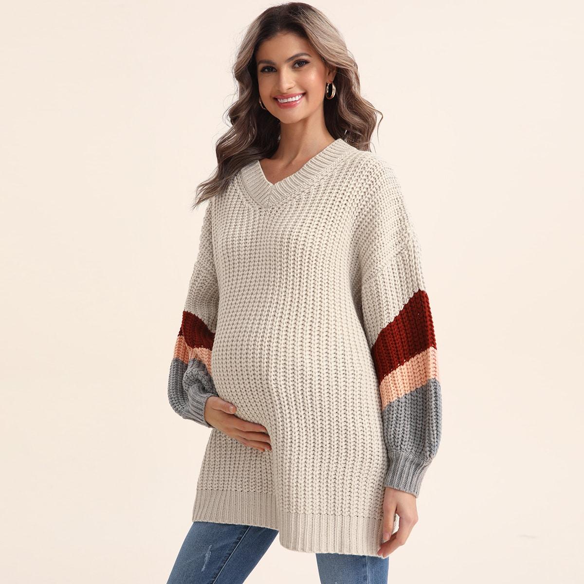 Шнуровка контрастный цвет повседневный свитеры для беременных