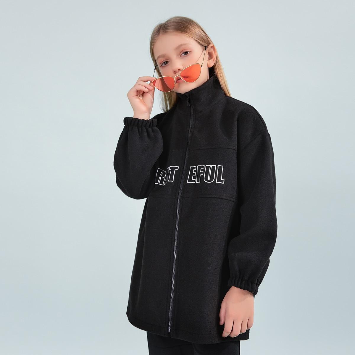 Drop Shoulder Mantel mit Buchstaben Stickereien
