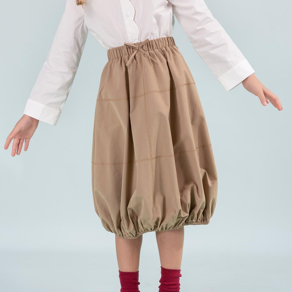 С бантм перед одноцветный повседневный юбки для девочек