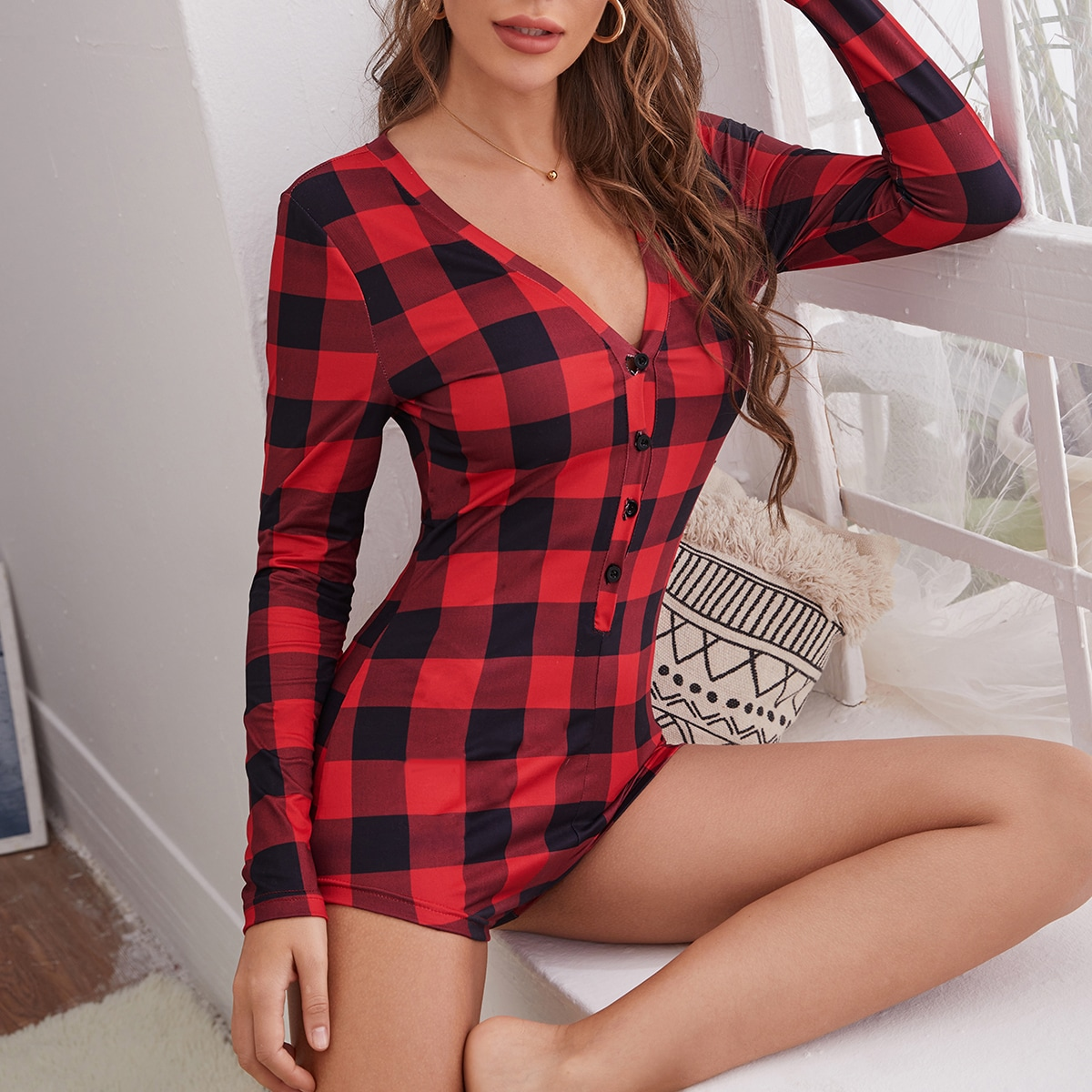 Button Front Gingham Pajama Onesie