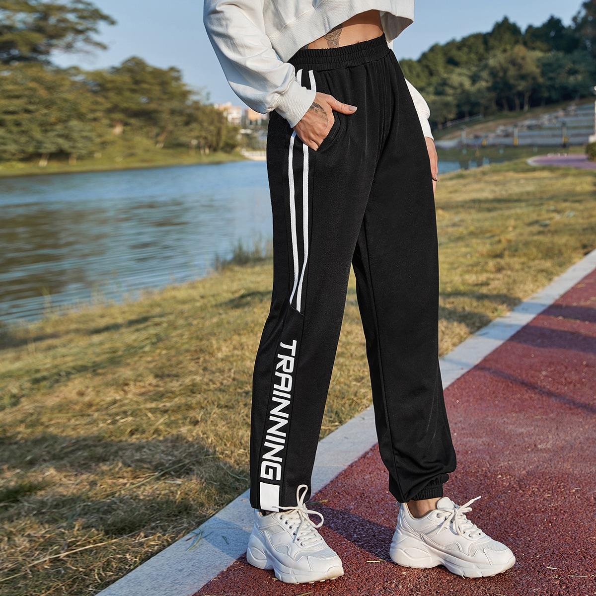 С карманами полосатый спортивные брюки