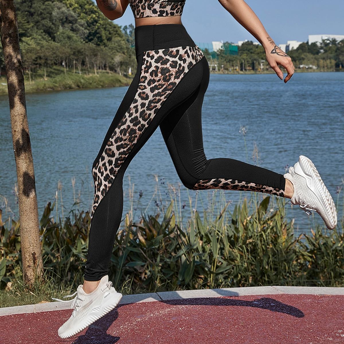 Леопард спортивные леггинсы