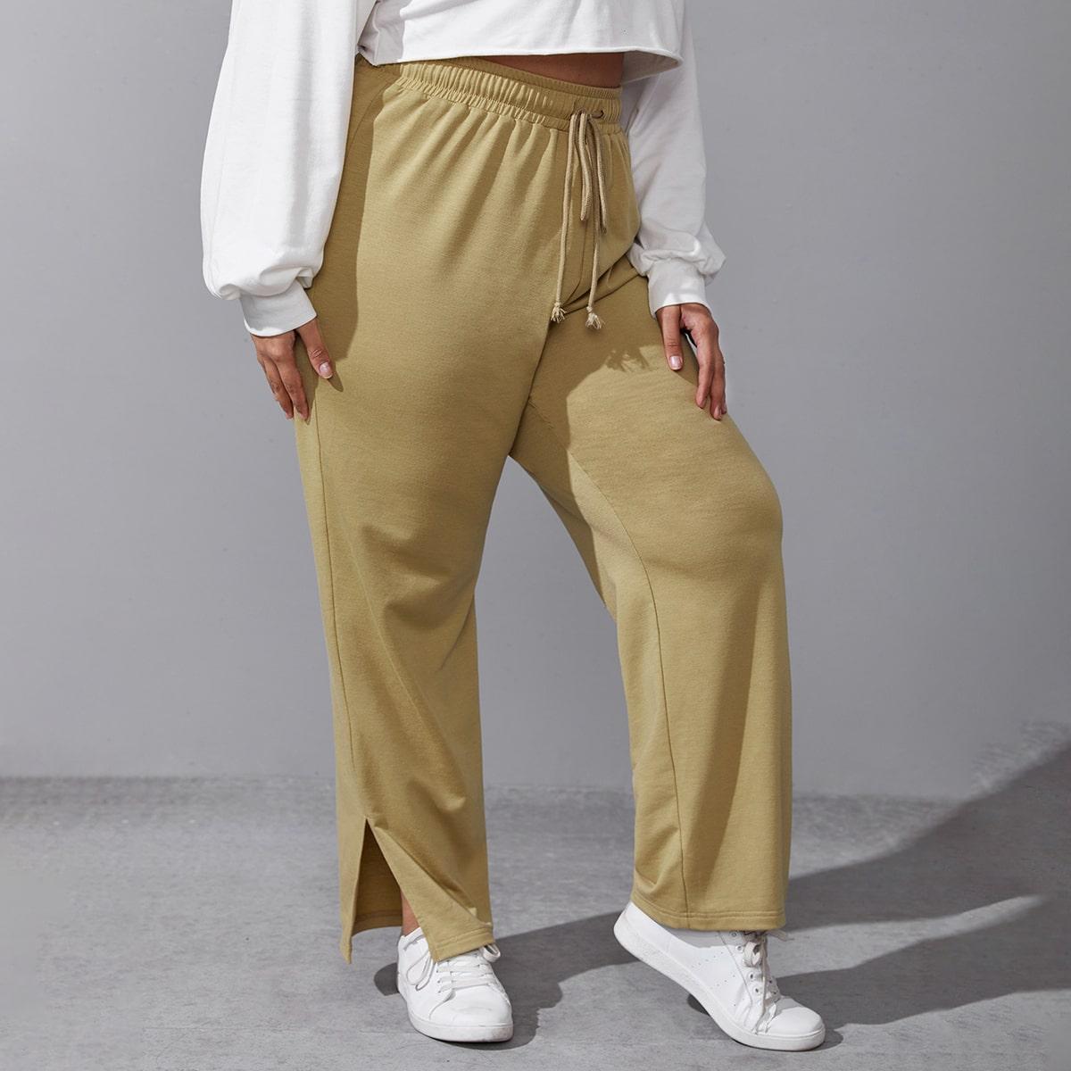 Разрез одноцветный повседневный брюки размер плюс