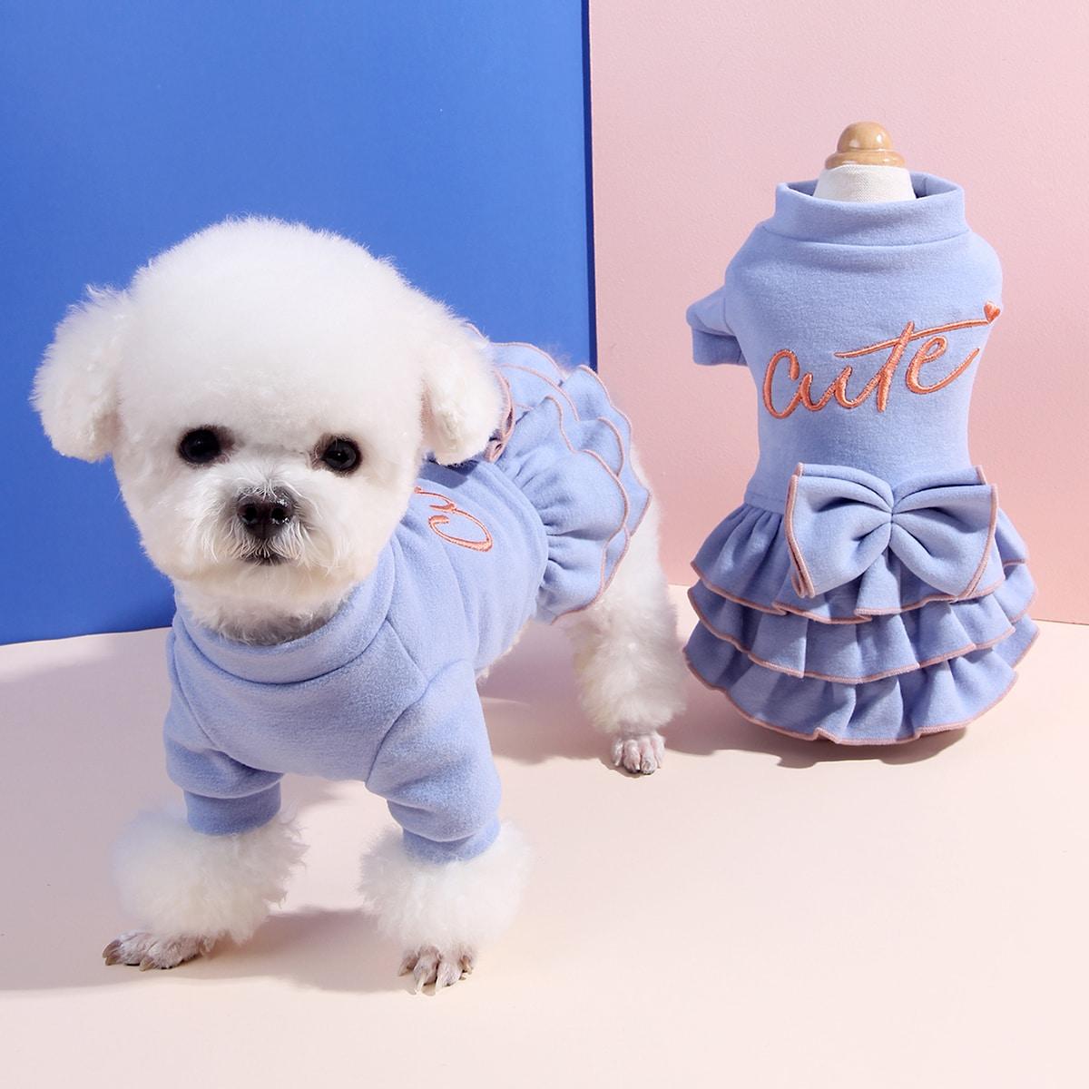 Платье с вышивкой для собак