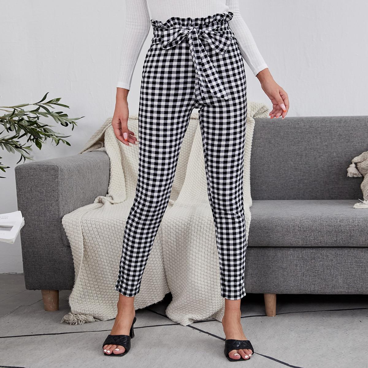 Gingham Paper Bag Waist Tie Front Pants