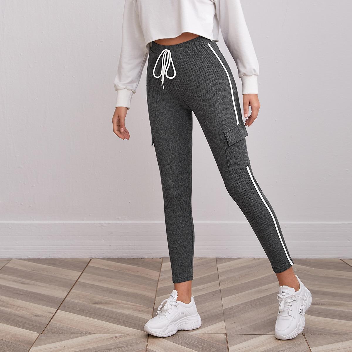 Вязаные брюки в рубчик