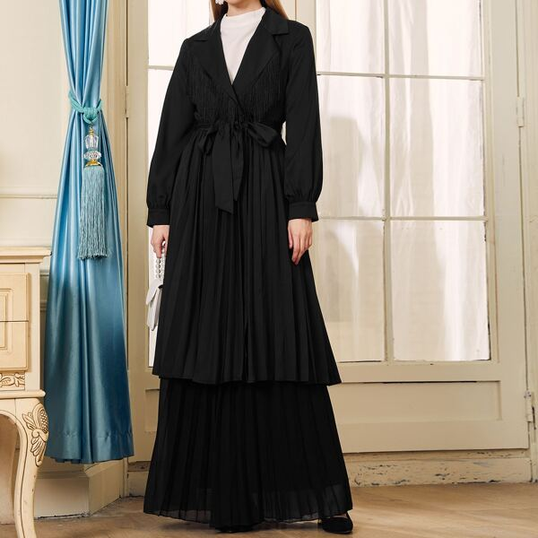 Notched Collar Self Belted Pleated Blazer, Black