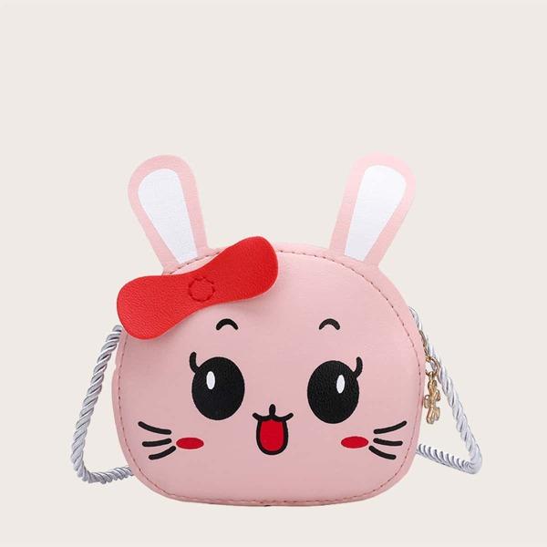 Kids Cartoon Rabbit Design Crossbody Bag, Pink
