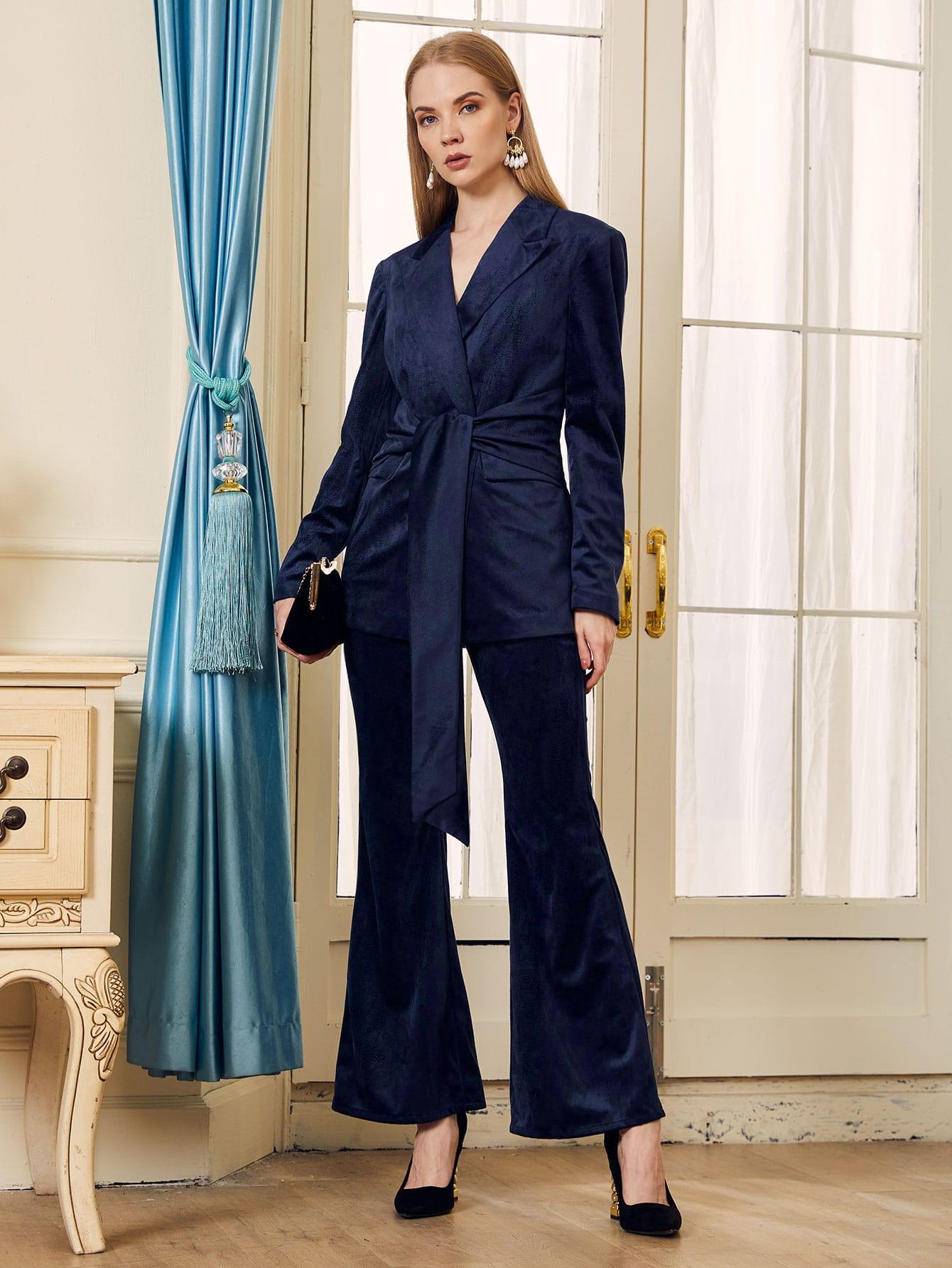 Peak Collar Belted Velvet Blazer & Flare Leg Pants Set thumbnail