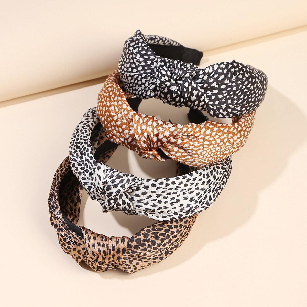 4шт ободок для волос с узлом и леопардовым узором