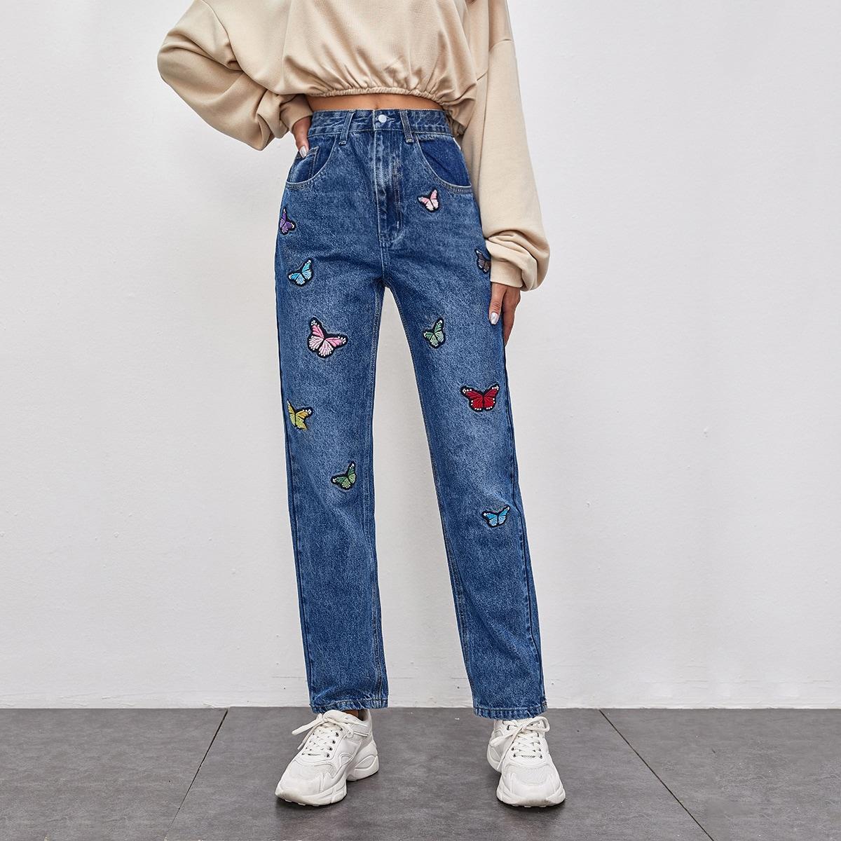 Прямые джинсы с вышивкой бабочки и карманом