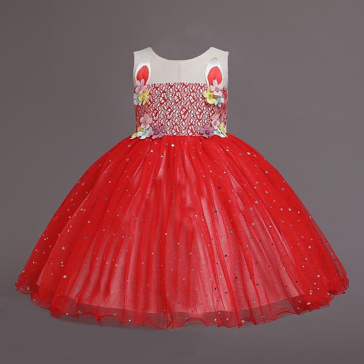 Платье с аппликацией для девочек