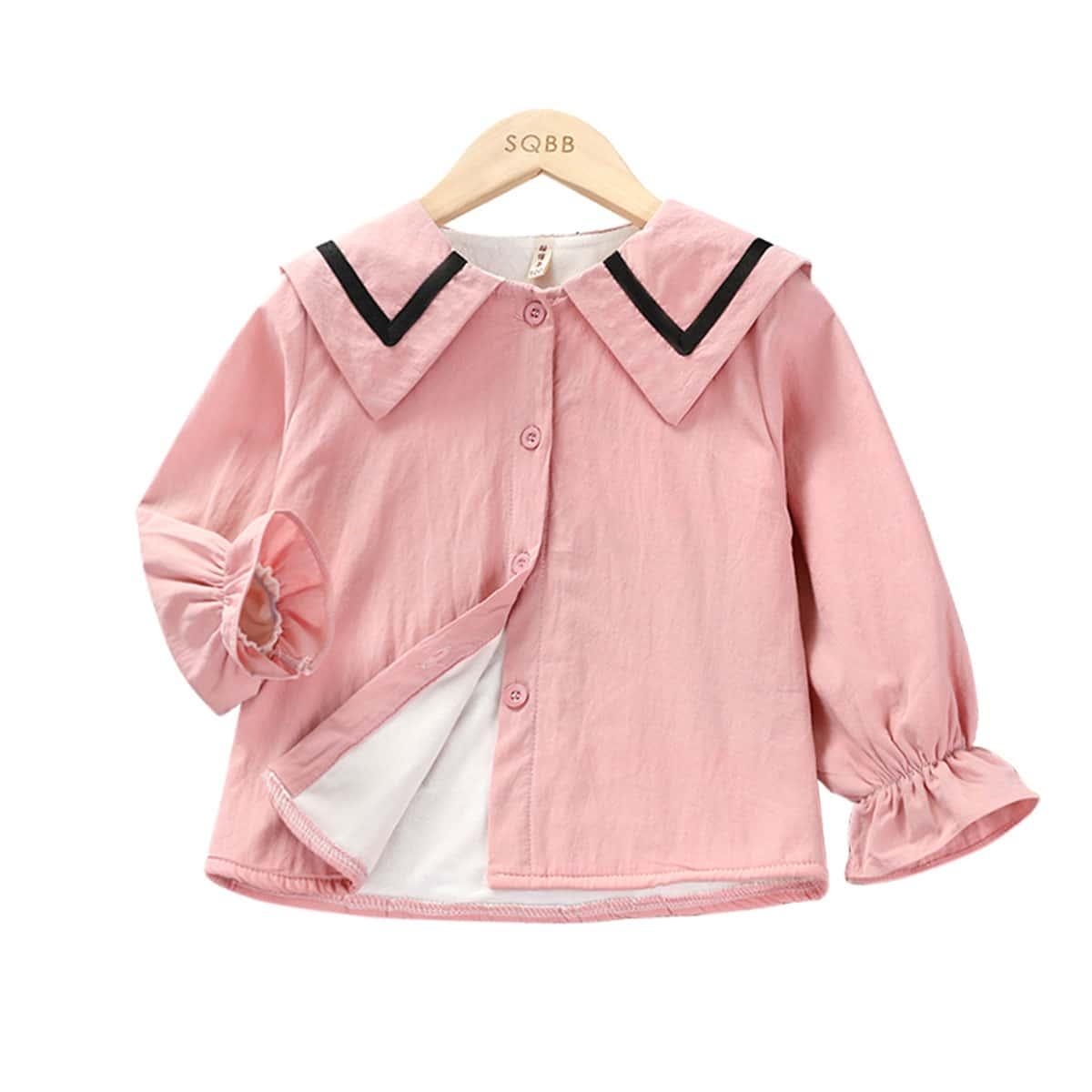 Блуза на плюшевой подкладке с матросским воротником для девочек