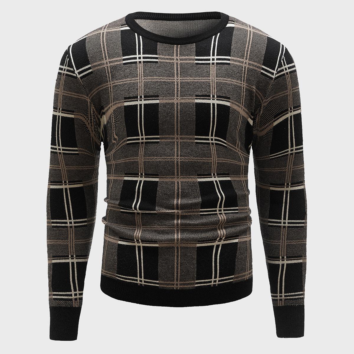 Men Plaid Pattern Crew Neck Sweater