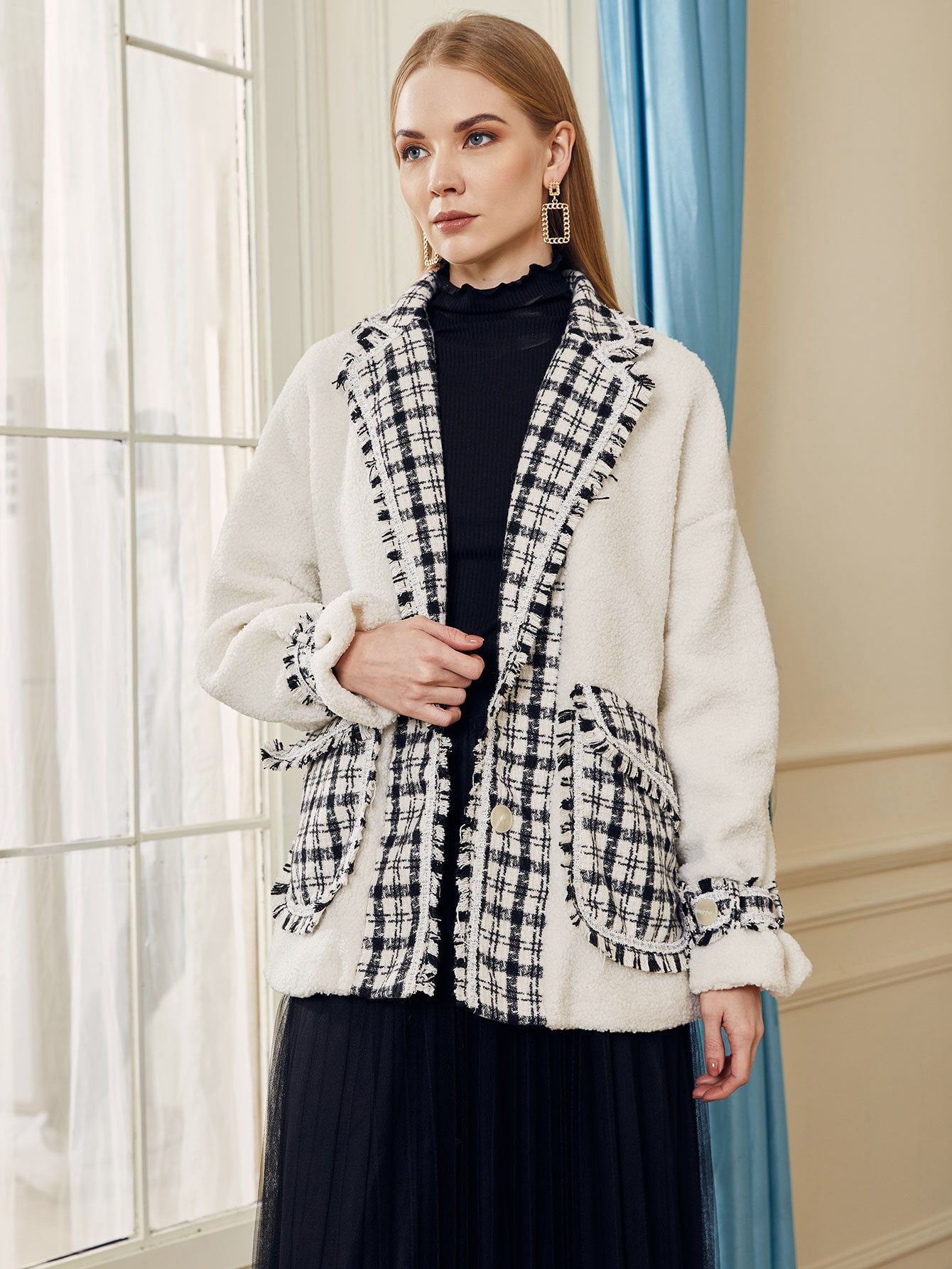 Notched Collar Frayed Trim Pocket Front Teddy Coat thumbnail