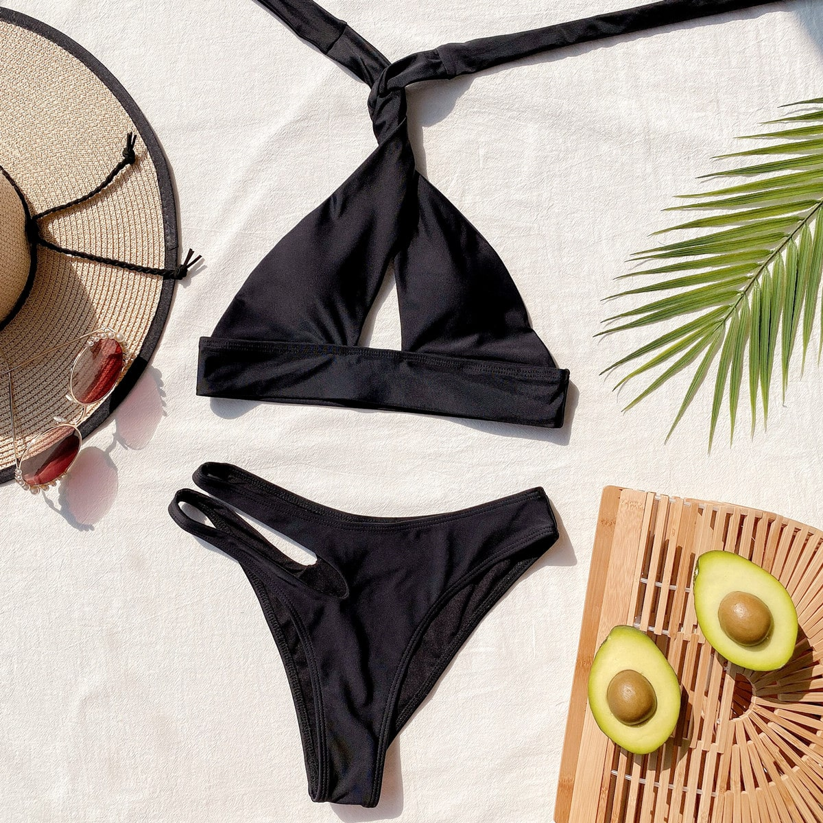 Cut-out Cross Halter Bikini Swimsuit