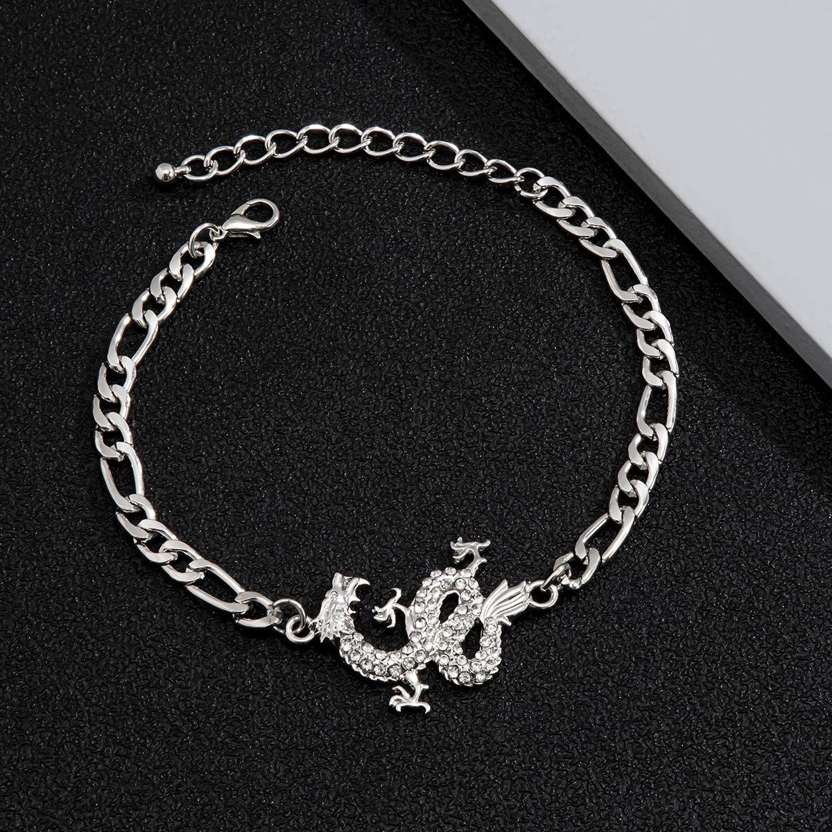 Мужской браслет со стразами и драконом
