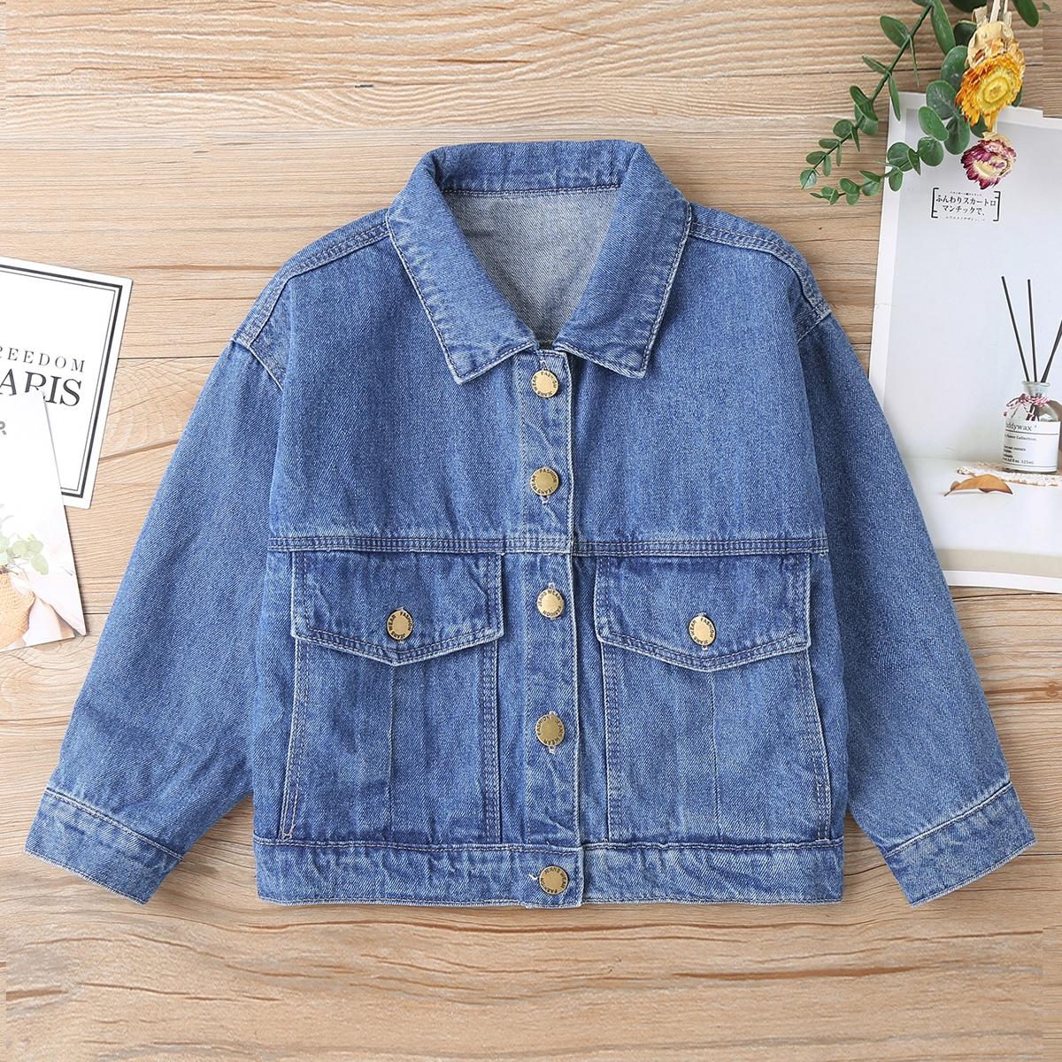 Джинсовая куртка для девочек с клапанами и карманами