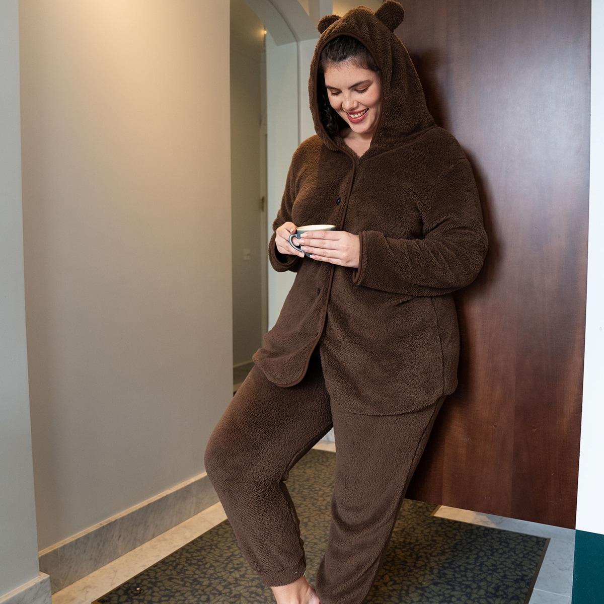 Пуговица одноцветный милый пижама размер плюс