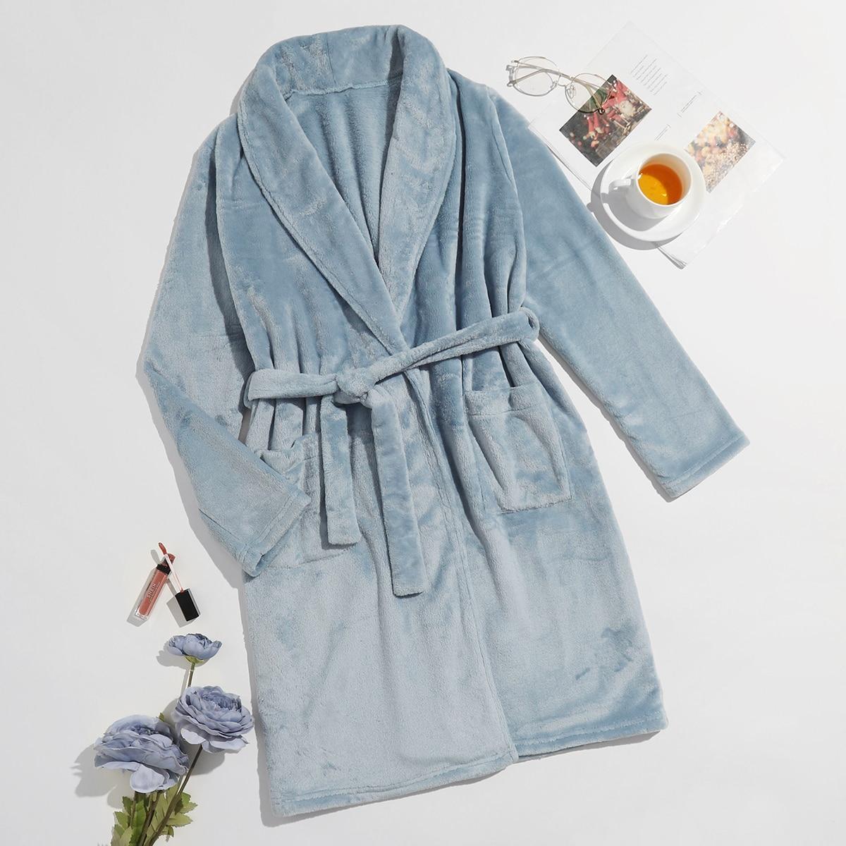 С карманами одноцветный повседневный домашний халат