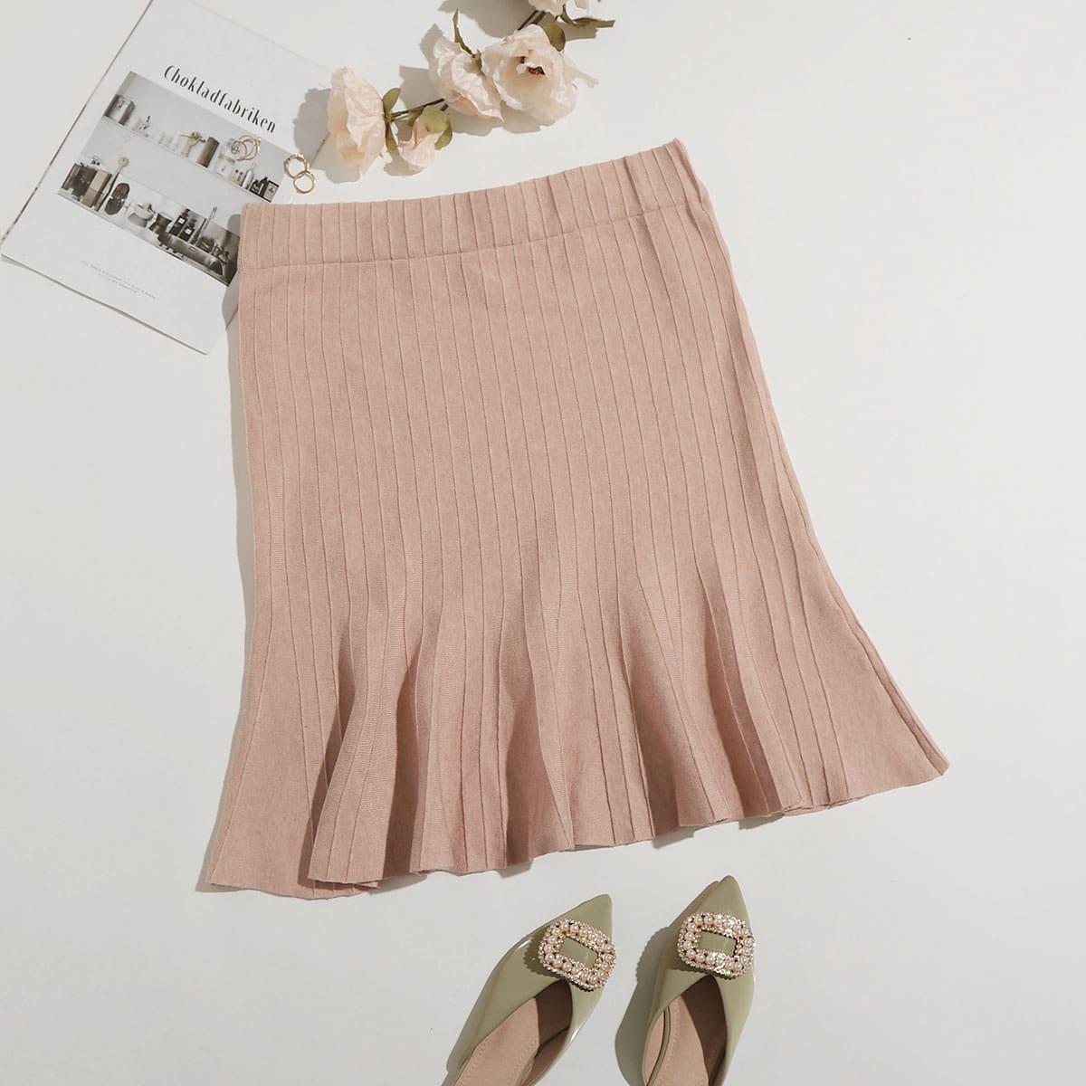 Однотонная юбка размера плюс с эластичной талией