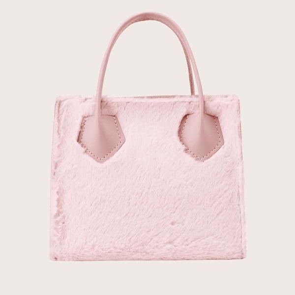 Minimalist Fluffy Satchel Bag, Pink