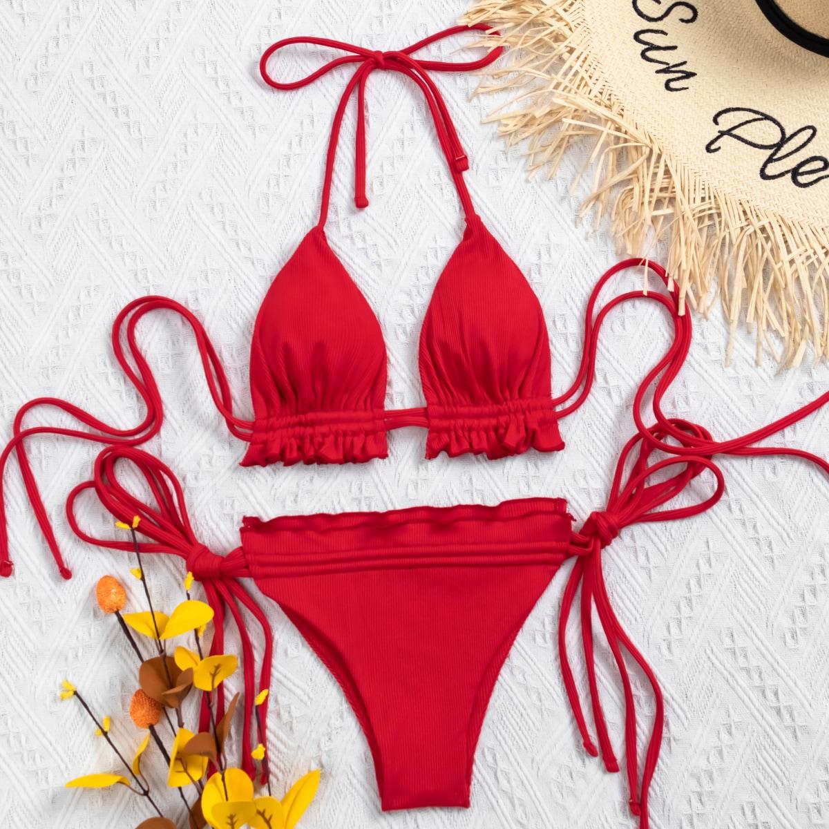 Frill Trim Triangle Thong Bikini Swimsuit
