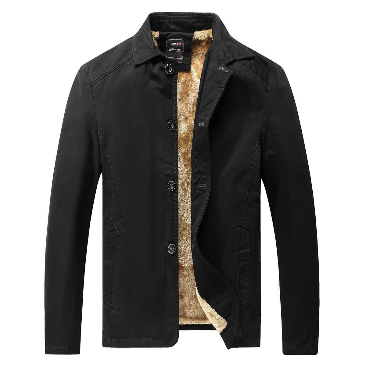 Мужское пальто на пуговицах с плюшевой подкладкой