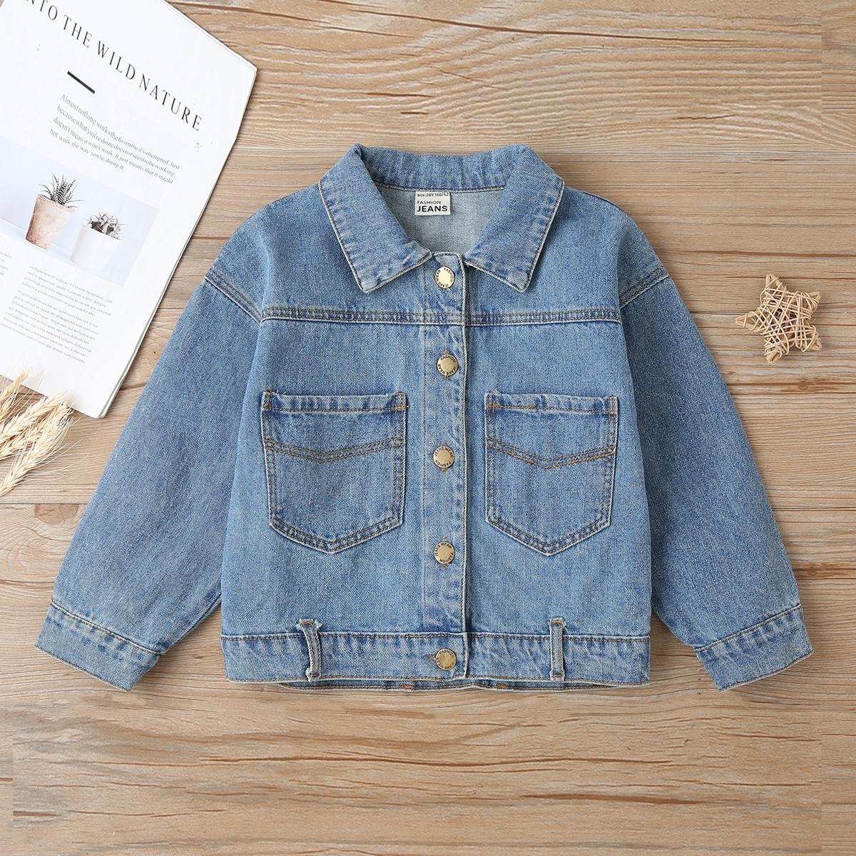 С карманами одноцветный повседневный джинсовые куртки & пальто для девочек