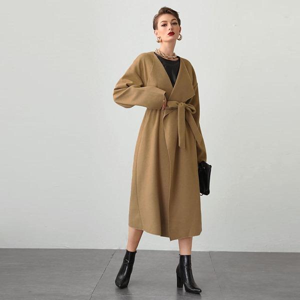 Waterfall Collar Drop Shoulder Self Belted Overcoat, Camel
