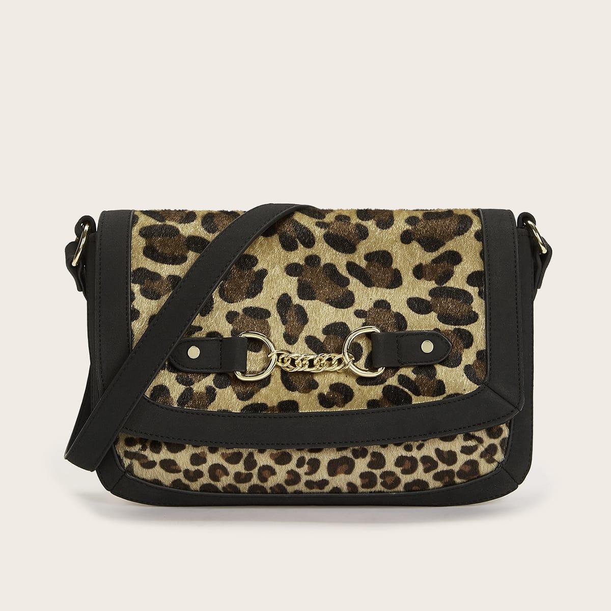 Сумка на плечо с леопардовым принтом