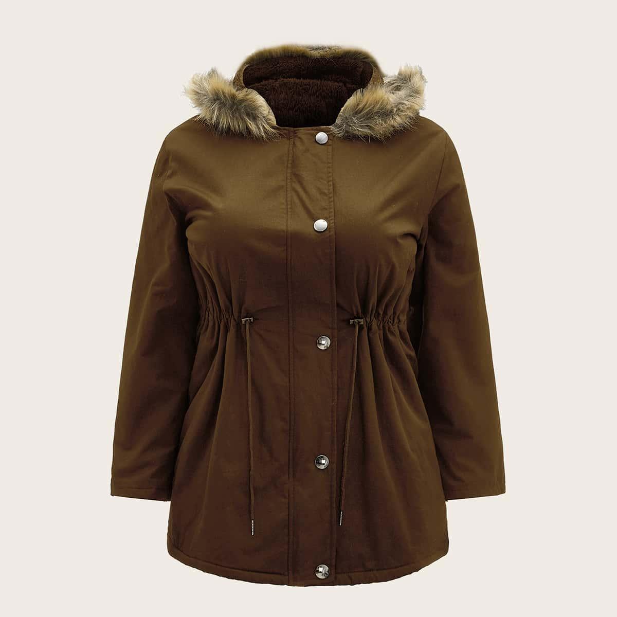 Пальто парка размера плюс с капюшоном и пуговицами на кулиске