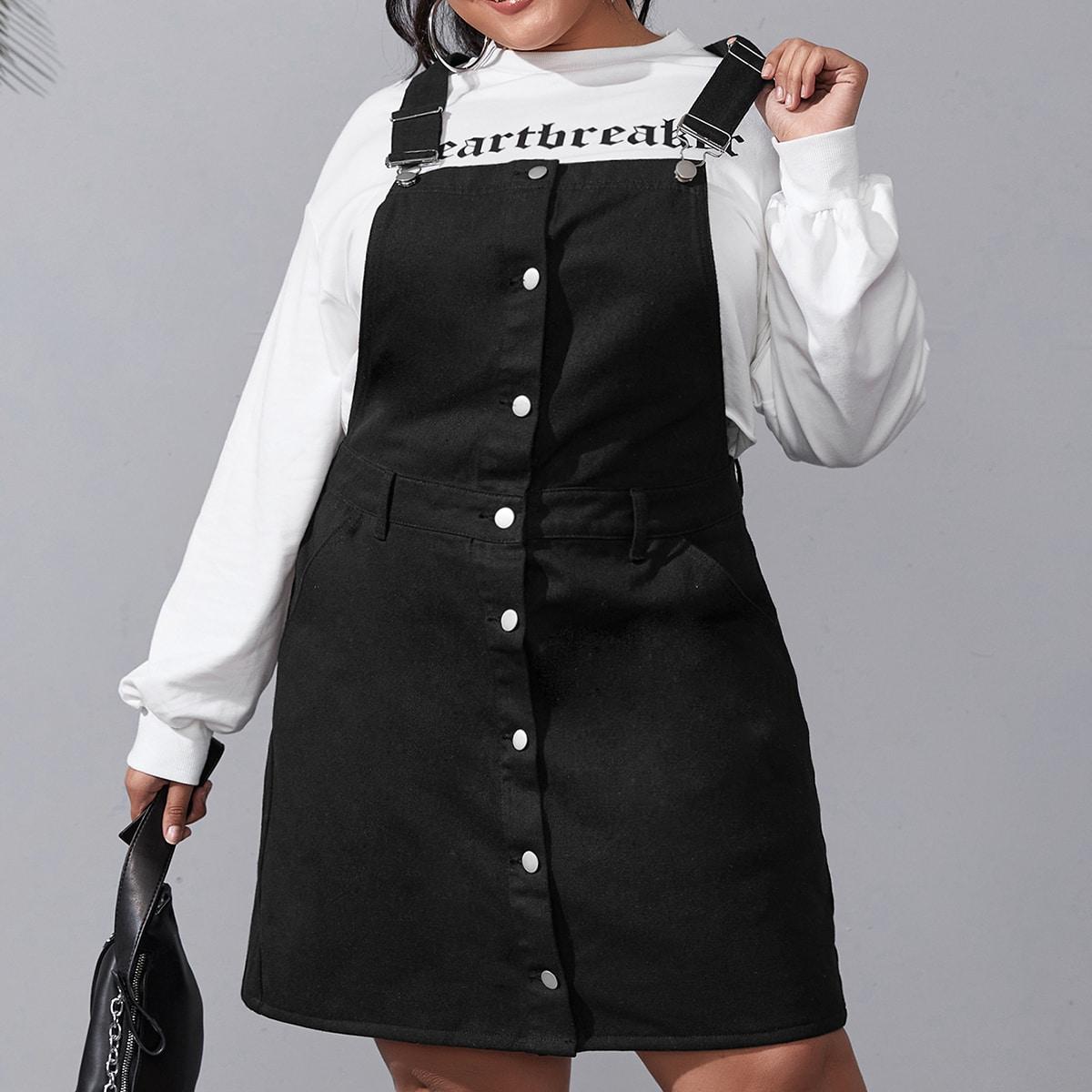 Джинсовое платье размера плюс с пуговицами