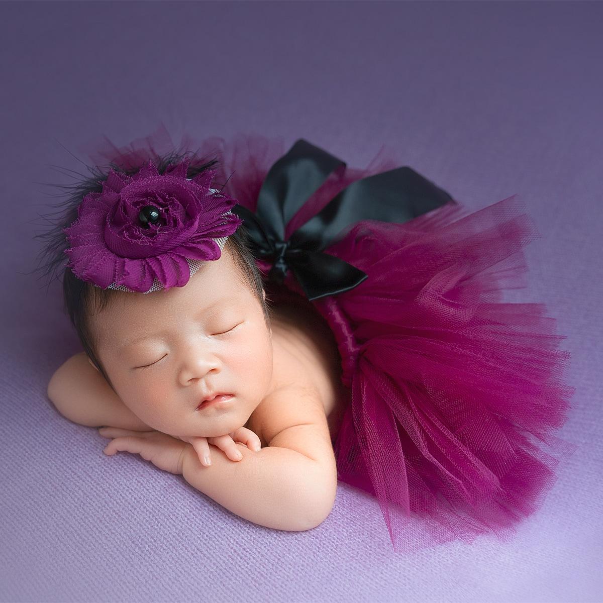 Наряд для фотографии сетчатая юбка с бантом и повязка на голову для новорожденных девочек