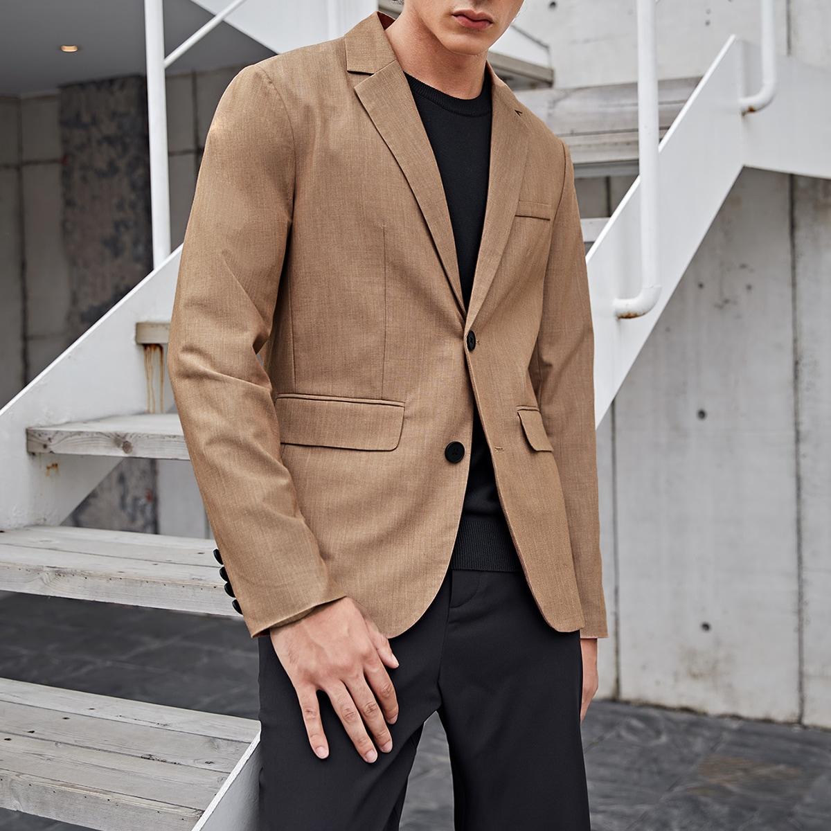 Мужской однотонный пиджак с лацканами