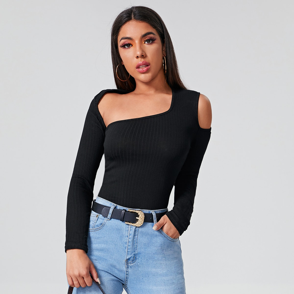Asymmetrical Neck Cold Shoulder Rib-knit Tee
