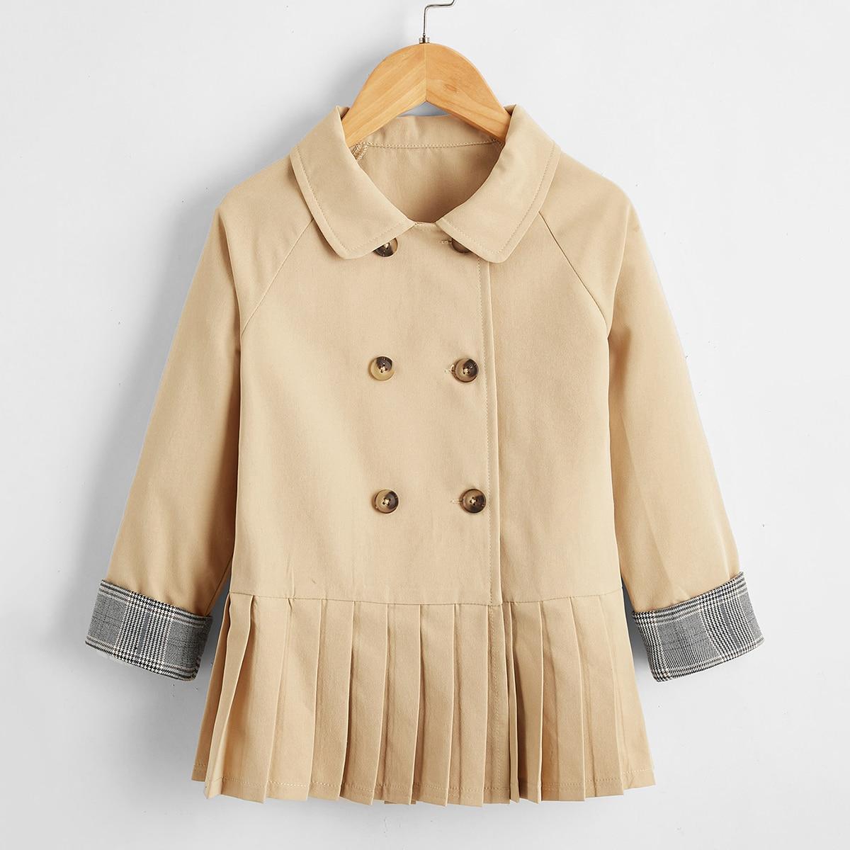 Пальто в клетку со складками для девочек