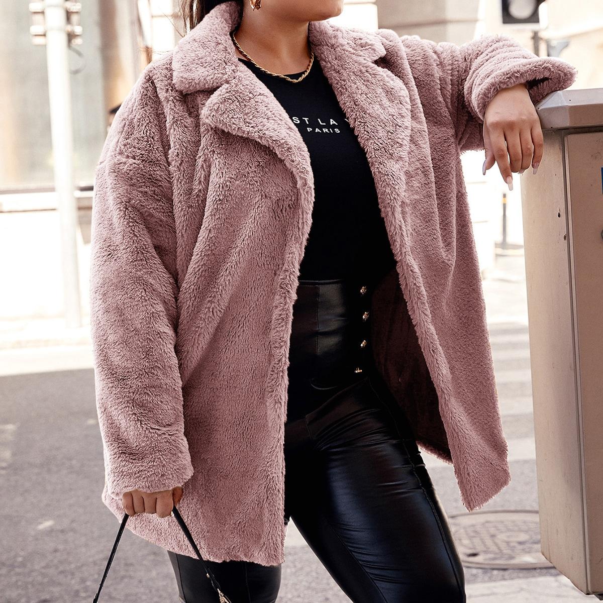Plus Drop Shoulder Open Front Faux Fur Coat