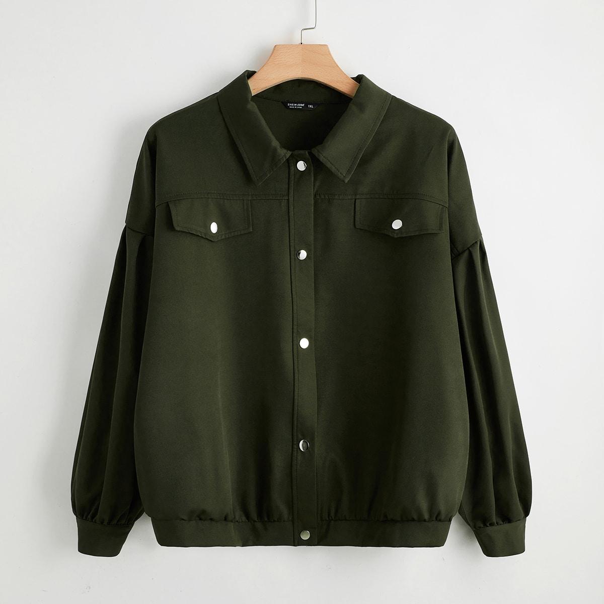 Однобортный одноцветный повседневный куртки размер плюс